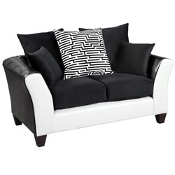 Faux Leather Loveseat in Black and White