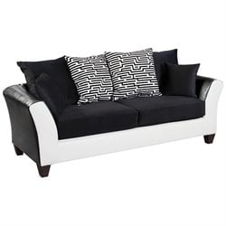 Faux Leather Sofa in Black and White