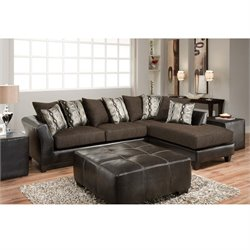 Faux Leather Right Facing Sectional in Sable Brown