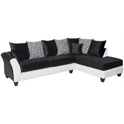 Faux Leather Right Facing Sectional in Black and White