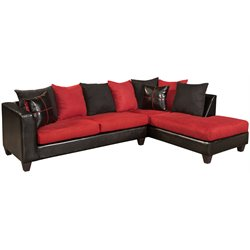Faux Leather Right Facing Sectional in Black and Red