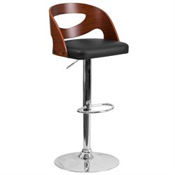 Contemporary Adjustable Bar Stool in Black and Walnut