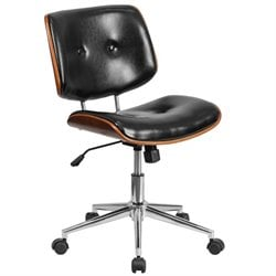 Leather Swivel Office Chair in Black and Walnut