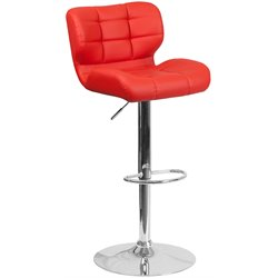 Tufted Faux Leather Adjustable Bar Stool in Red