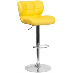 Tufted Faux Leather Adjustable Bar Stool in Yellow