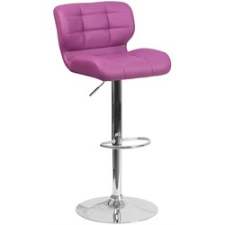 Tufted Faux Leather Adjustable Bar Stool in Purple