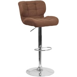 Tufted Fabric Adjustable Bar Stool in Brown