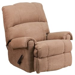 Fabric Rocker Recliner in Chocolate and Taupe