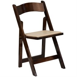 Wood Folding Chair in Beige and Fruitwood