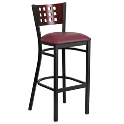 Metal Restaurant Bar Stool in Black and Burgundy