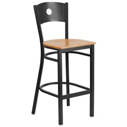 Metal Restaurant Bar Stool in Black and Natural