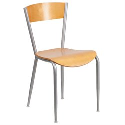 Metal Restaurant Dining Chair in Natural and Silver