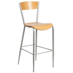 Metal Restaurant Bar Stool in Natural and Silver