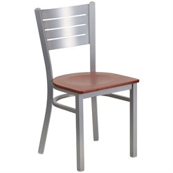 Restaurant Dining Chair in Cherry and Silver