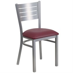 Restaurant Dining Chair in Burgundy and Silver