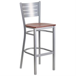 Bar Stool in Cherry and Silver