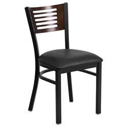 Metal Restaurant Dining Chair in Black and Walnut