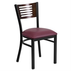 Metal Restaurant Dining Chair in Black and Burgundy