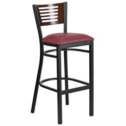 Metal Restaurant Bar Stool in Burgundy and Walnut