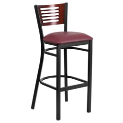 Metal Restaurant Bar Stool in Burgundy and Mahogany