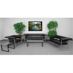 3 Piece Leather Reception Sofa Set in Black