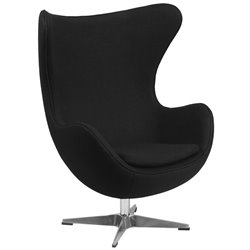 Wool Fabric Egg Chair in Black