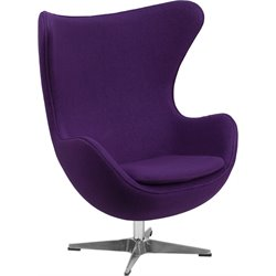 Wool Fabric Egg Chair in Purple