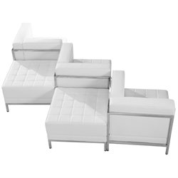5 Piece Leather Reception Sofa Set in White