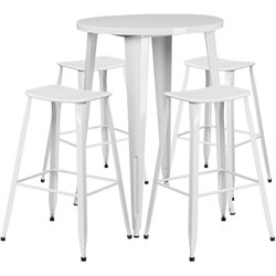 Round Metal Patio Bistro Set in White