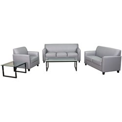 3 Piece Leather Reception Sofa Set in Gray