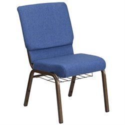 Flash Furniture Hercules Fabric Church Chair in Blue and Goldvein