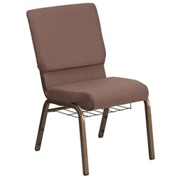 Flash Furniture Hercules Fabric Church Chair in Brown and Goldvein