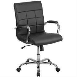 Mid Back Faux Leather Swivel Office Chair in Black