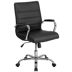 Mid Back Leather Swivel Office Chair in Black