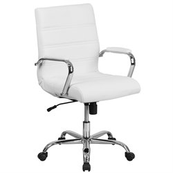 Mid Back Leather Swivel Office Chair in White