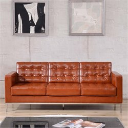 Leather Reception Sofa in Cognac Brown