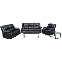 3 Piece Leather Reclining Sofa Set in Black