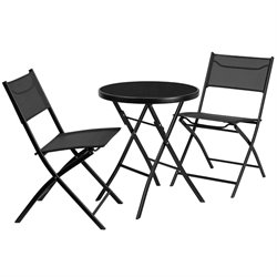 Flash Furniture 3 Piece Round Patio Bistro Set in Black