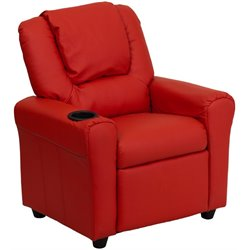 Kids Faux Leather Recliner in Red