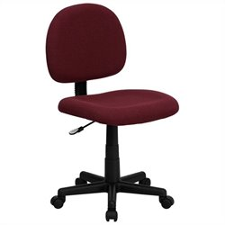 Armless Ergonomic Task Office Chair in Burgundy