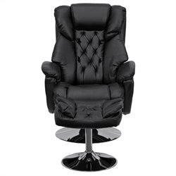 Transitional Recliner and Ottoman in Black