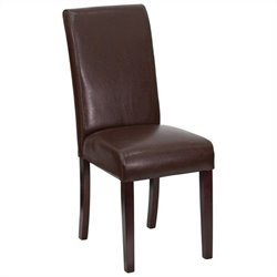 Upholstered Parsons Dining Chair in Dark Brown