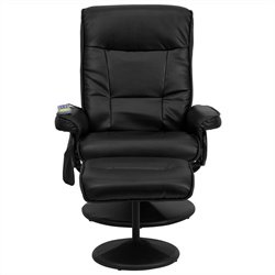 Massaging Recliner and Ottoman in Black with Base