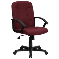 Mid Back Office Chair with Nylon Arms in Burgundy