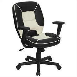 Mid Back Executive Office Chair in Cream and Black