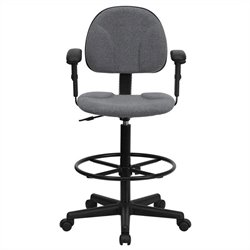 Patterned Ergonomic Drafting Chair in Gray with Arms