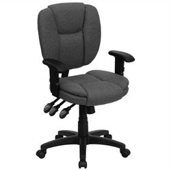 Mid Back Ergonomic Task Office Chair with Arms in Gray