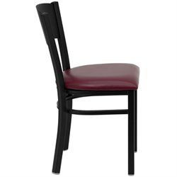 Circle Back Metal Dining Chair in Burgundy