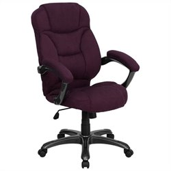 High Back Microfiber Upholstered Office Chair in Grape
