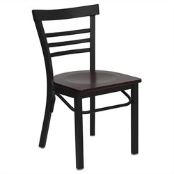 Black Ladder Back Dining Chair in Mahogany